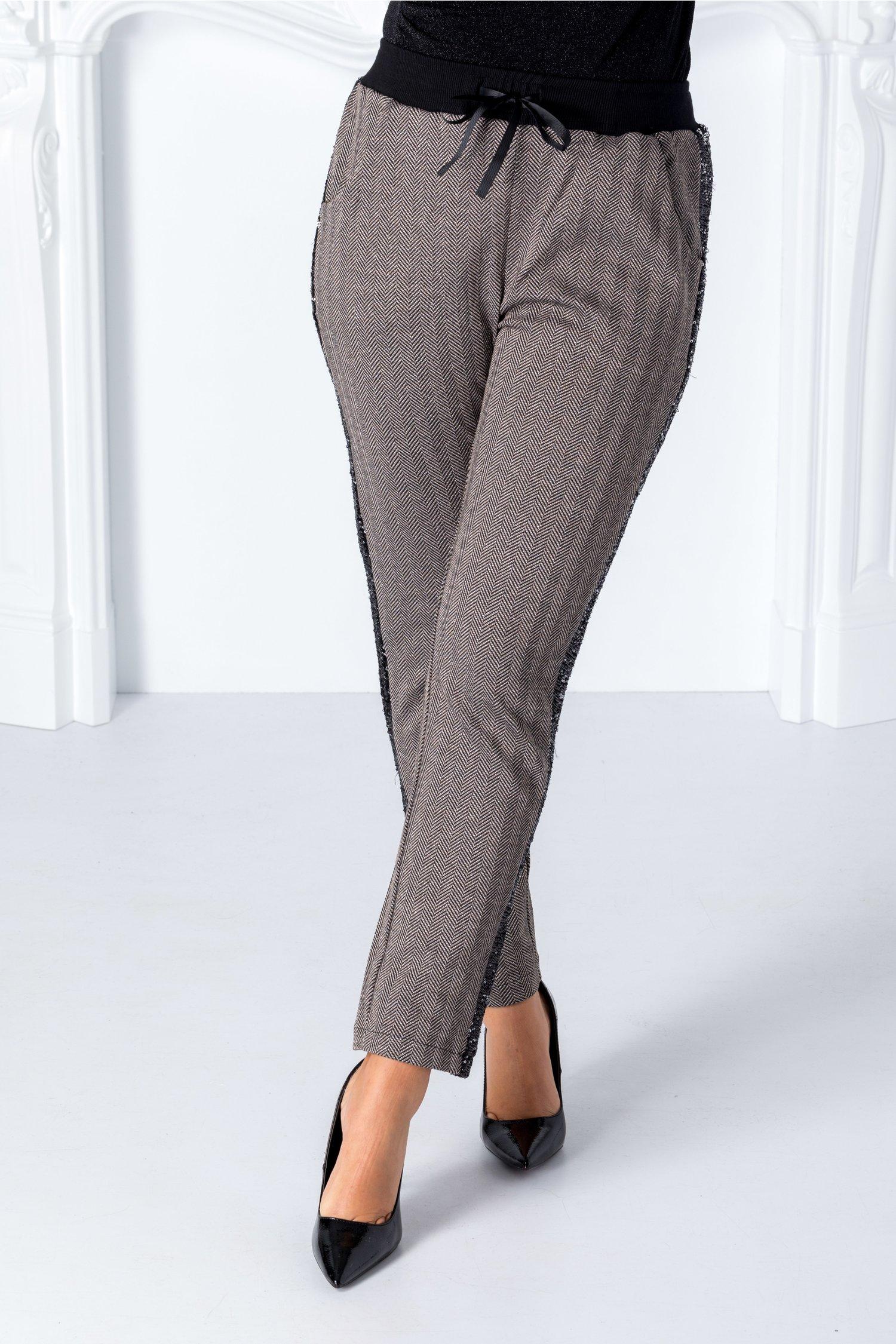 Pantaloni Dya bej cu detalii negre si paiete thumbnail