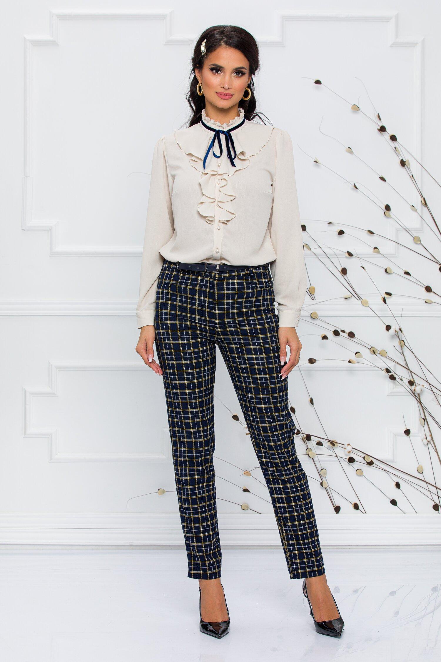 Pantaloni Elly bleumarin in carouri