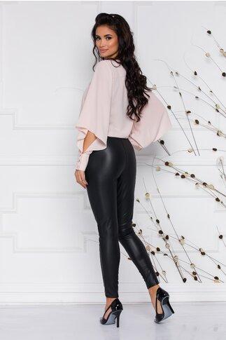 Pantaloni Eva din piele ecologica cu nasturi decorativi