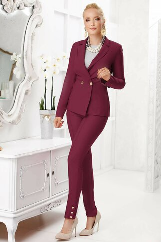 Pantaloni Fofy bordo office cu design cu dunga