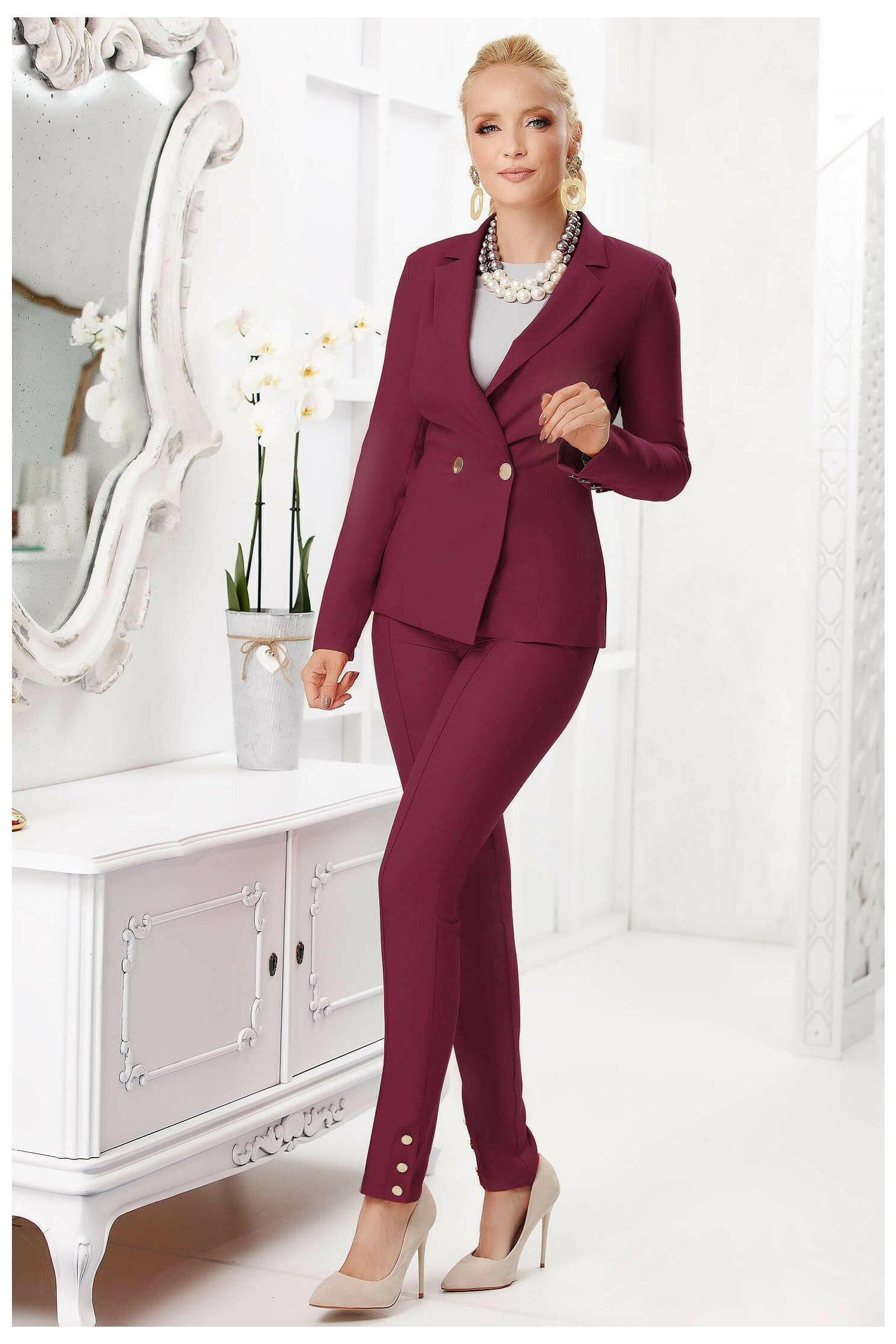 Pantaloni Fofy bordo office cu design cu dunga