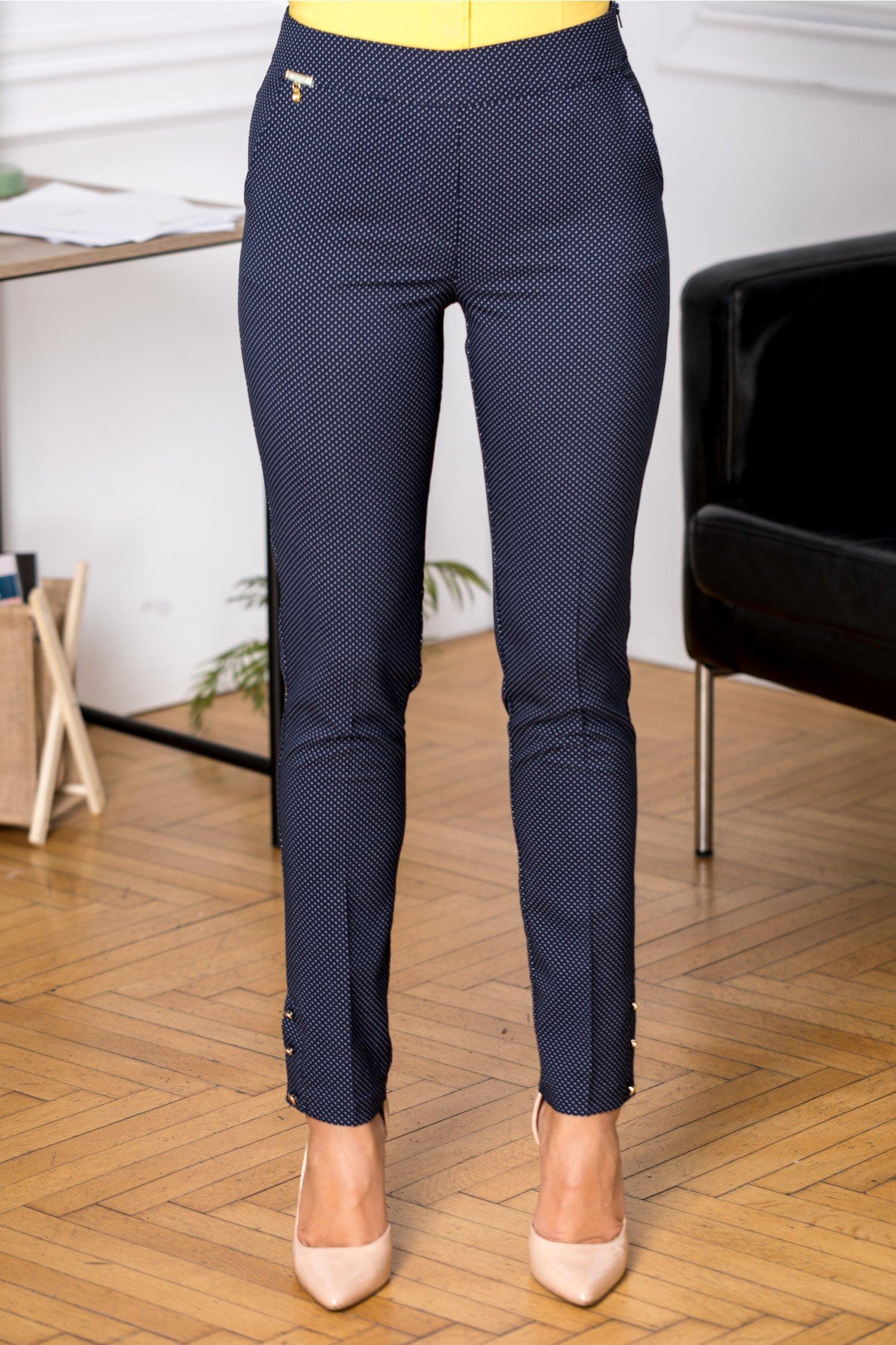 Pantaloni Fofy office bleumarin cu buline albe
