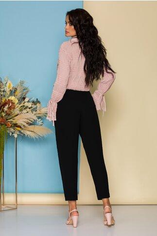 Pantaloni Ginette negri cu cordon in talie si nasturi fantezie