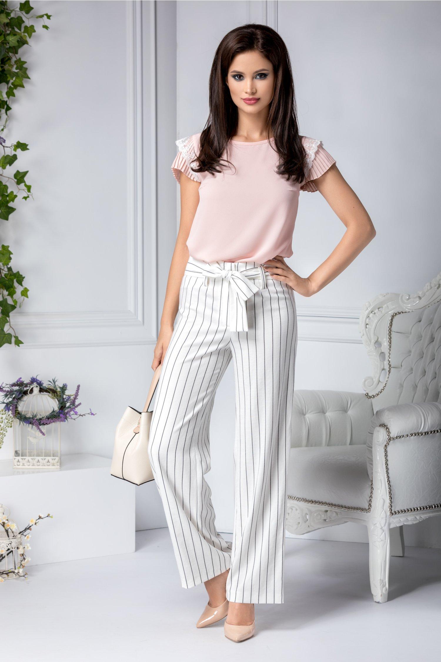 Pantaloni Ginette vaporosi de vara albi cu dungi