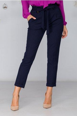 Pantaloni Iris bleumarin cu buline cu volan in talie si cordon