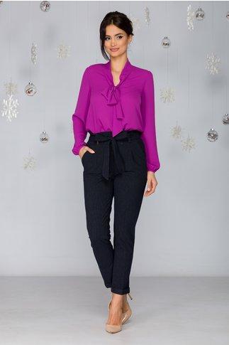 Pantaloni Iris bleumarin cu dungi cu volan in talie si cordon