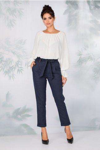 Pantaloni Iris bleumarin cu volan in talie si cordon