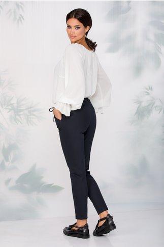 Pantaloni Iulia bleumarin cu snur in talie