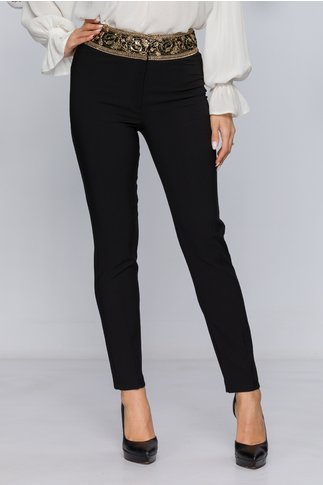 Pantaloni Kalla negri eleganti cu paiete in talie