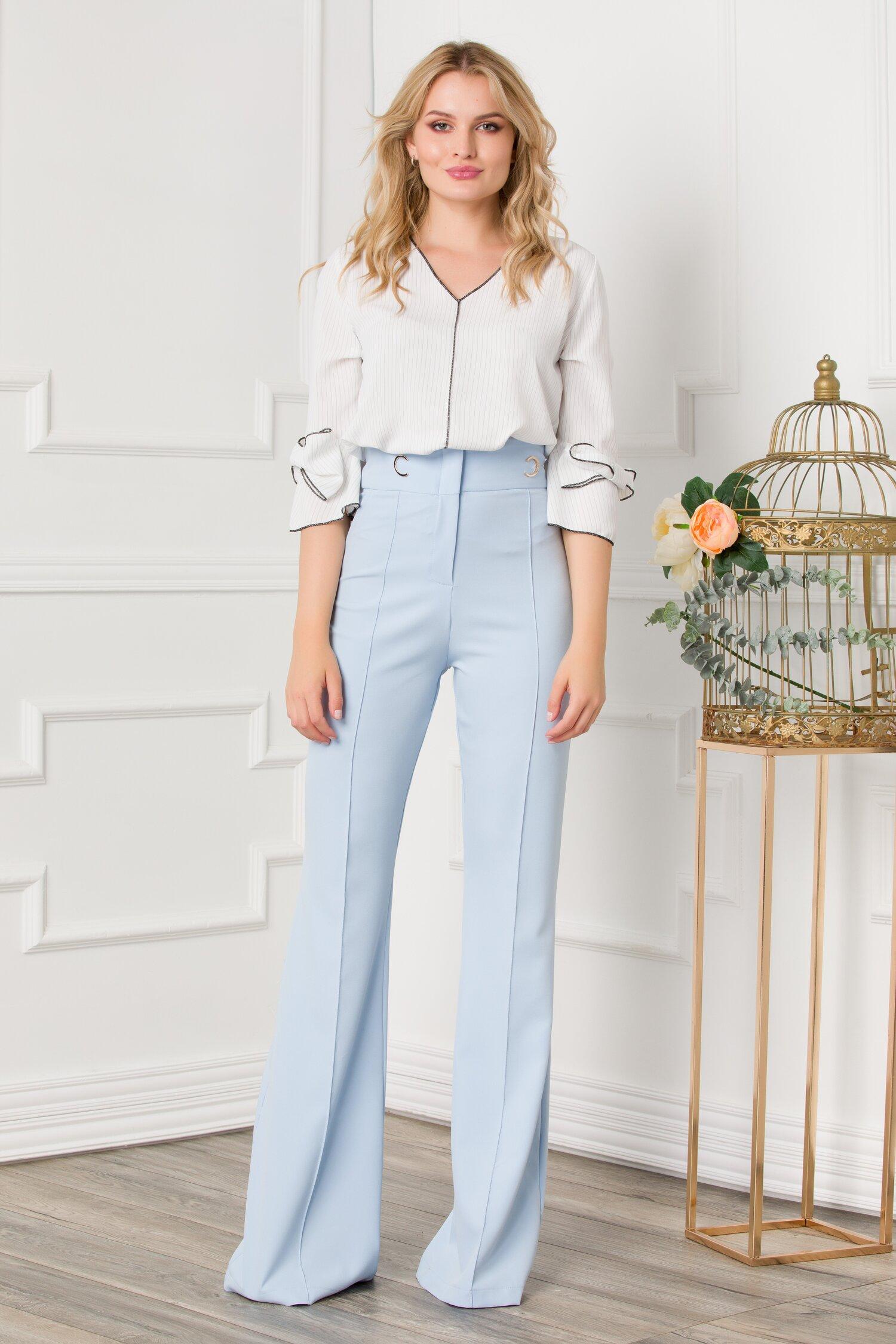 Pantaloni Kenia bleu cu talie inalta