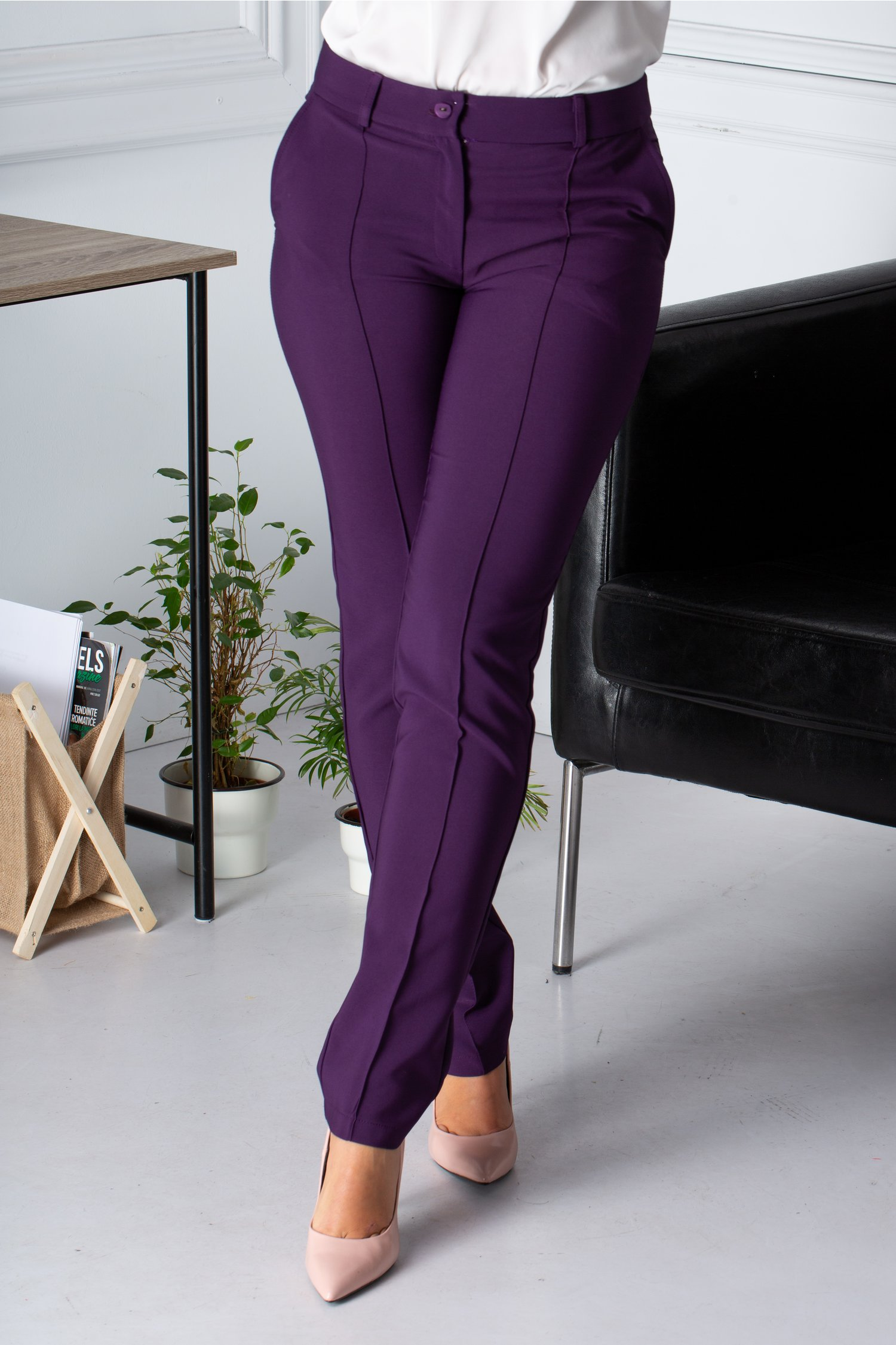 Pantaloni La Donna office mov cu dunga