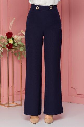 Pantaloni LaDonna bleumarin evazati cu nasturi decorativi