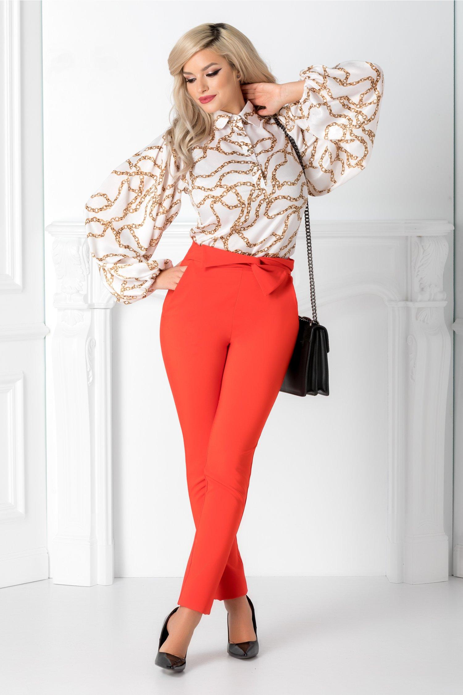 Pantaloni LaDonna corai cu funda in talie