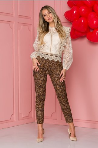 Pantaloni LaDonna maro cu animal print si lampas