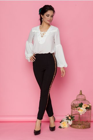 Pantaloni LaDonna negri cu benzi leopard print pe lateral