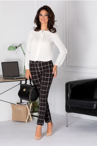 Pantaloni LaDonna negri cu carouri mari