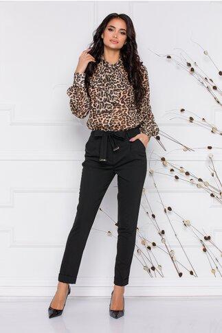 Pantaloni LaDonna negri cu cordon detasabil in talie