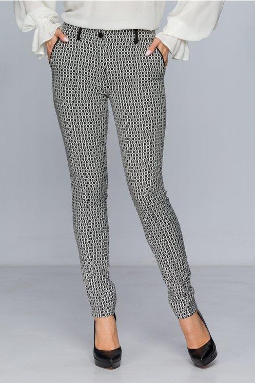Pantaloni LaDonna negri cu imprimeu geometric