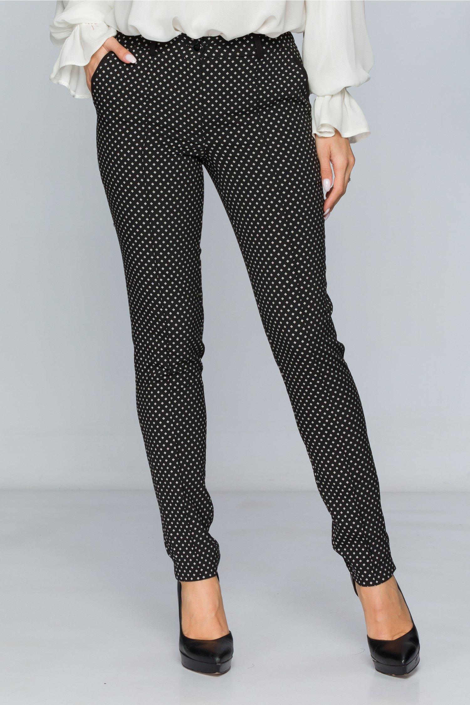 Pantaloni LaDonna negri office cu imprimeu discret