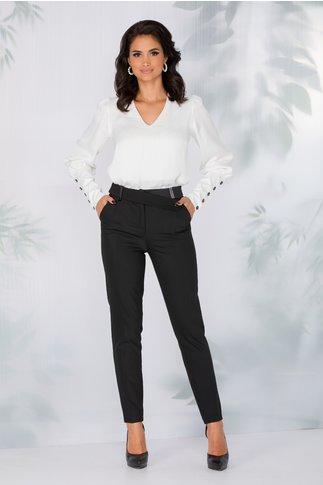 Pantaloni LaDonna office negri cu nasture fantezie