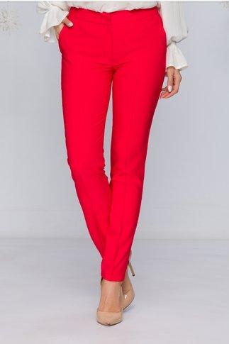 Pantaloni LaDonna rosii office cu design cu dungi