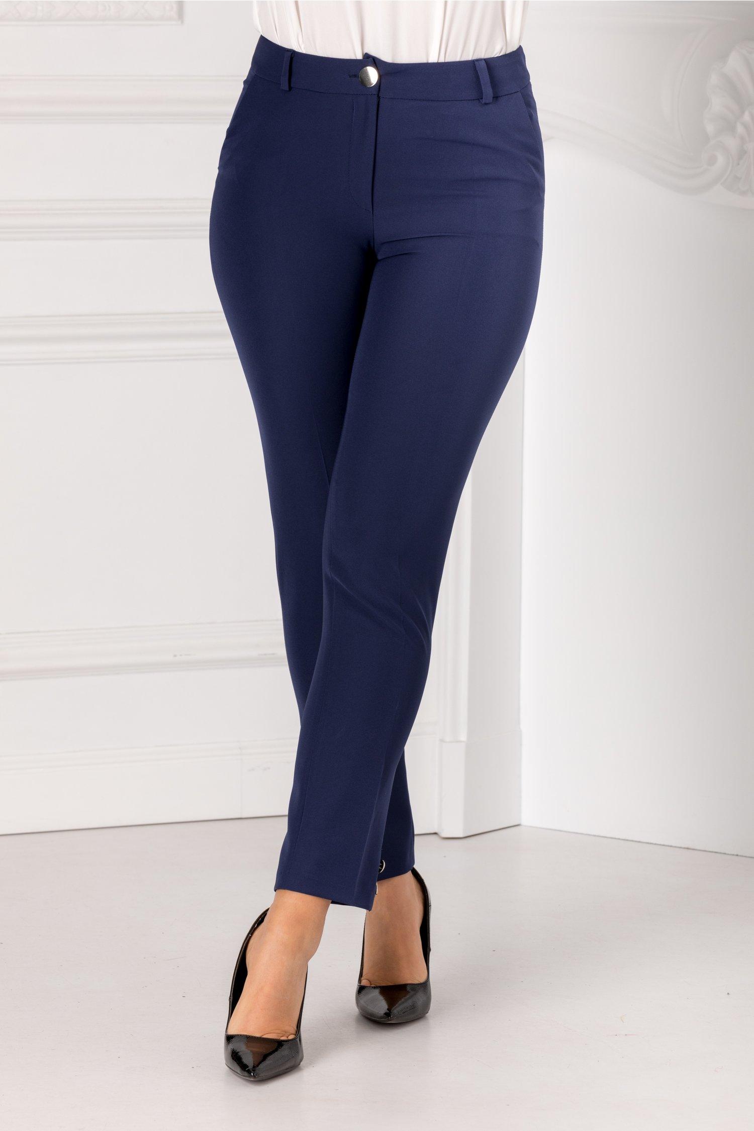 Pantaloni Leonard Collection bleumarin cu nasturi decorativi