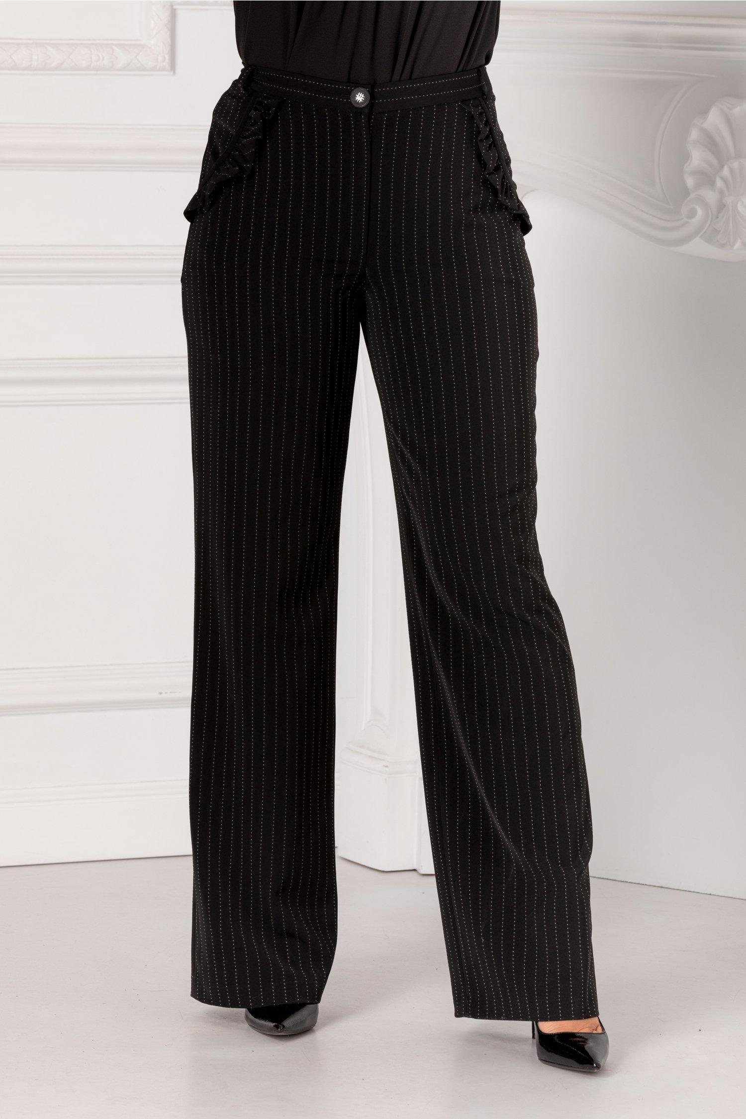 Pantaloni Leonard Collection negri cu dungi punctate