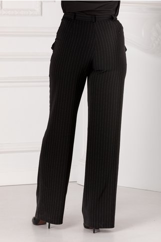 Pantaloni Leonard Collection negri cu dungi punctate