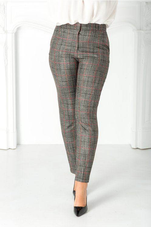 Pantaloni Livia office gri cu carouri bordo
