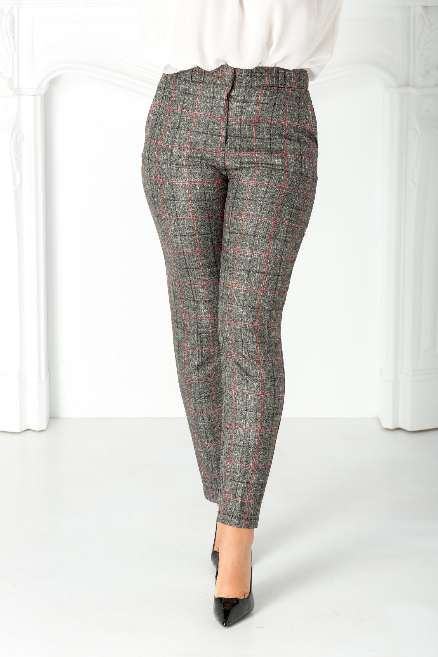 Pantaloni Livia office gri cu carouri bordo