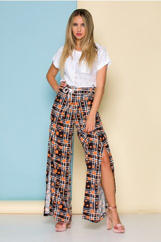 Pantaloni Love cu carouri alb-negru si inimioare orange