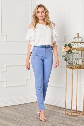 Pantaloni Luna bleu cu dunga si curea in talie