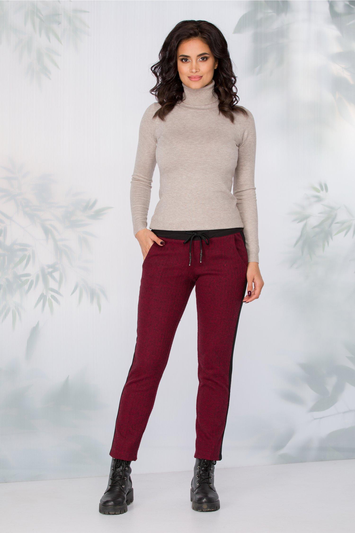 Pantaloni Lydia bordo model zigzag