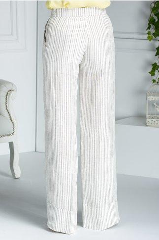 Pantaloni Malia evazati albi cu dungi