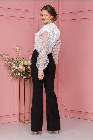 Pantaloni MBG negri evazati cu fermoar in lateral