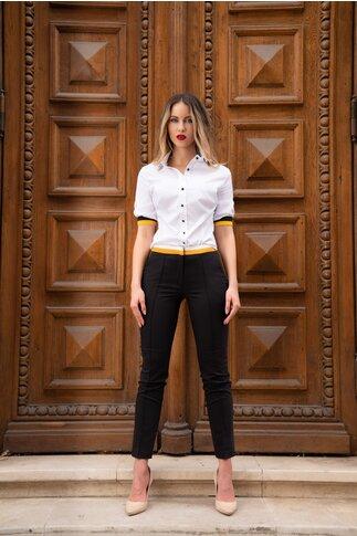 Pantaloni MBG negru cu galben si dunga