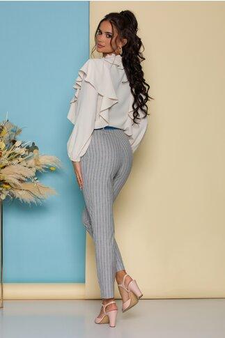 Pantaloni Mela gri cu dungi roz si albastre