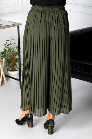 Pantaloni Mella kaki creponati