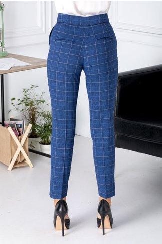 Pantaloni Moze albastri cu carouri
