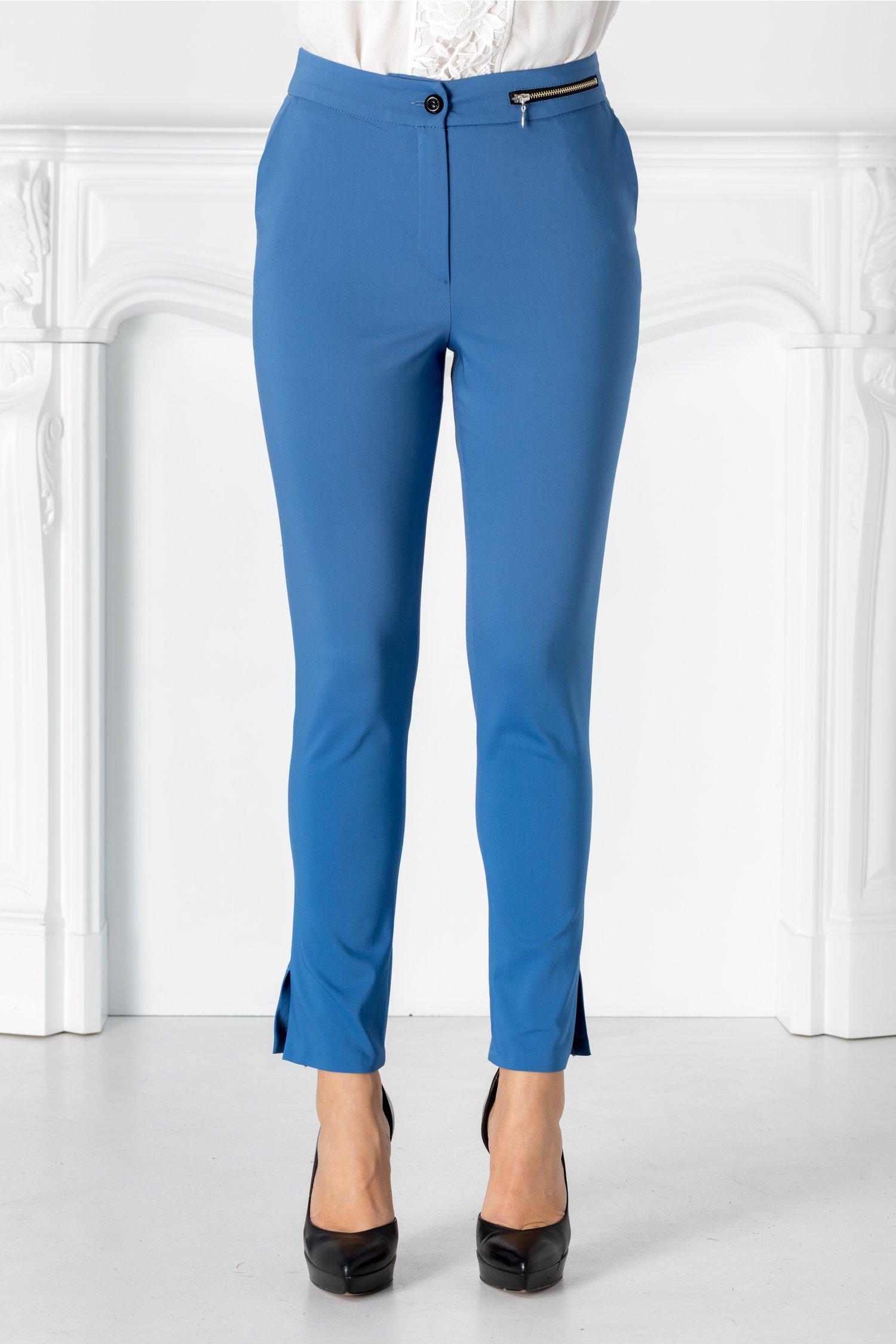 Pantaloni Moze albastri cu formoar metalic