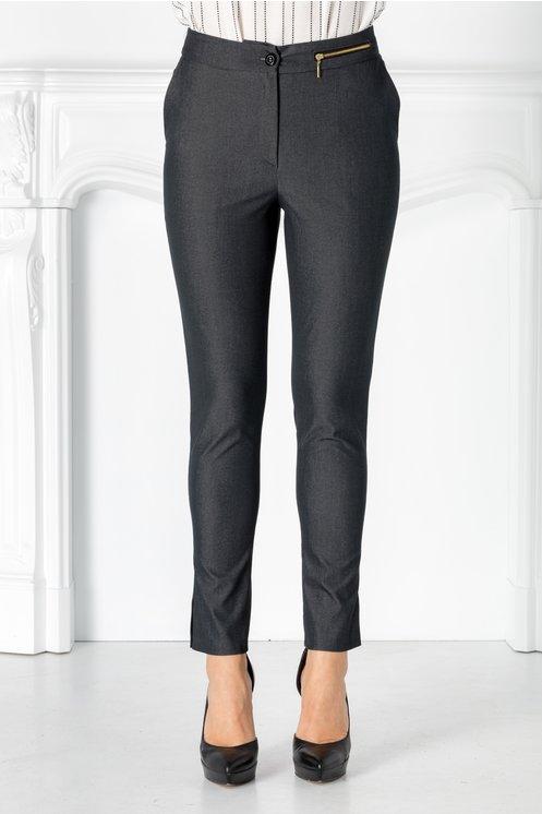 Pantaloni Moze antracit cu fermoar metalic