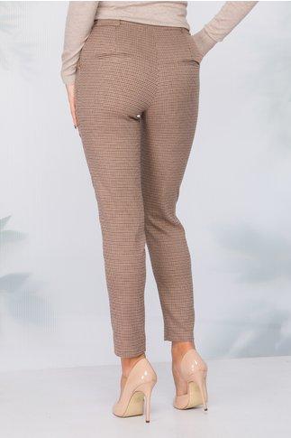 Pantaloni Moze maro camel cu imprimeu in zig-zag