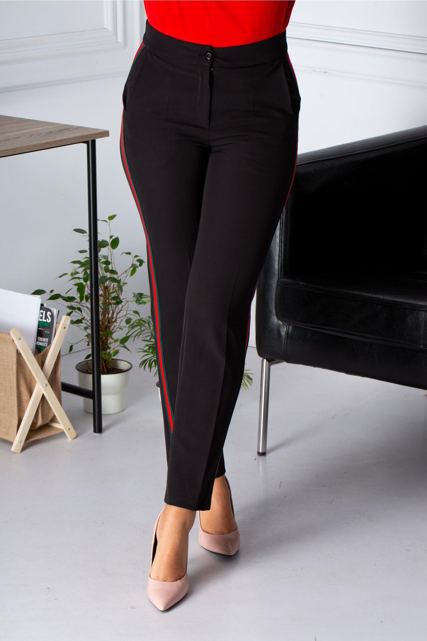 Pantaloni Moze negrii cu lampas rosu-verde