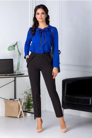 Pantaloni Moze negri office cu aplicatii la buzunare