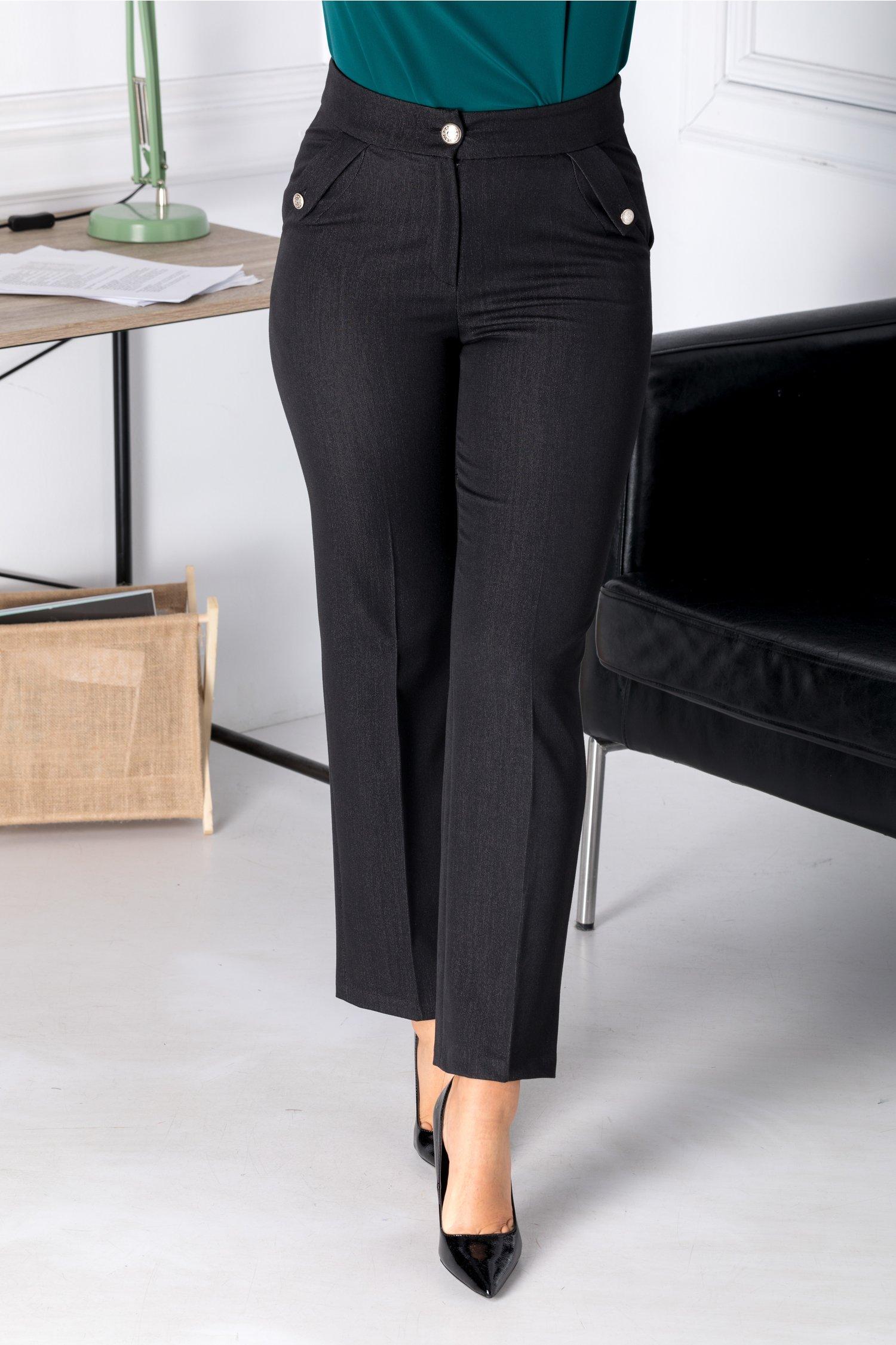 Pantaloni Moze negri office cu insertii gri thumbnail
