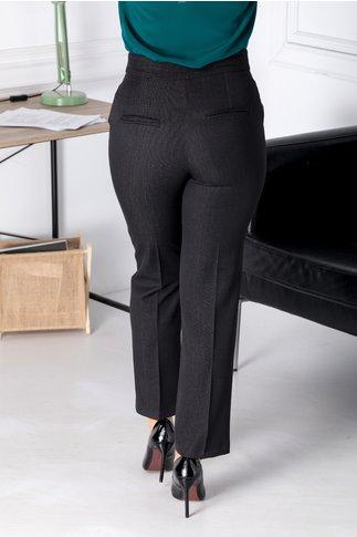 Pantaloni Moze negri office cu insertii gri