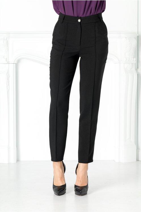 Pantaloni Moze negru drepti cu dunga