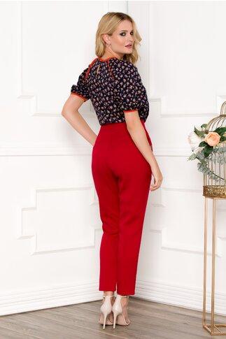 Pantaloni Moze rosii cu snur decorativ in talie