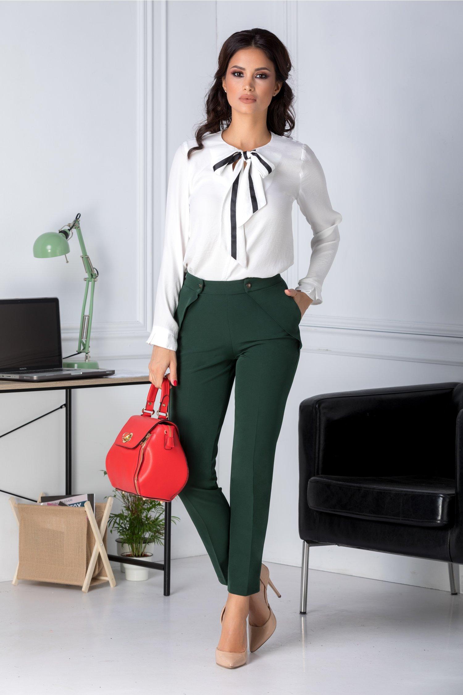 Pantaloni Moze verzi office cu aplicatii la buzunare