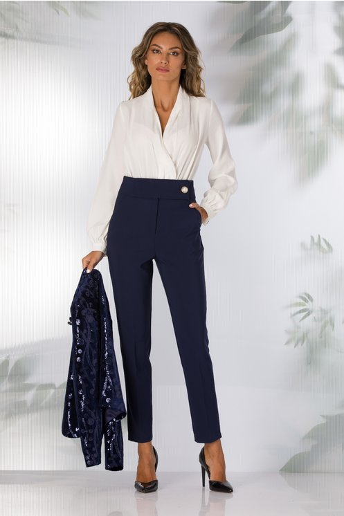 Pantaloni Nadia office bleumarin
